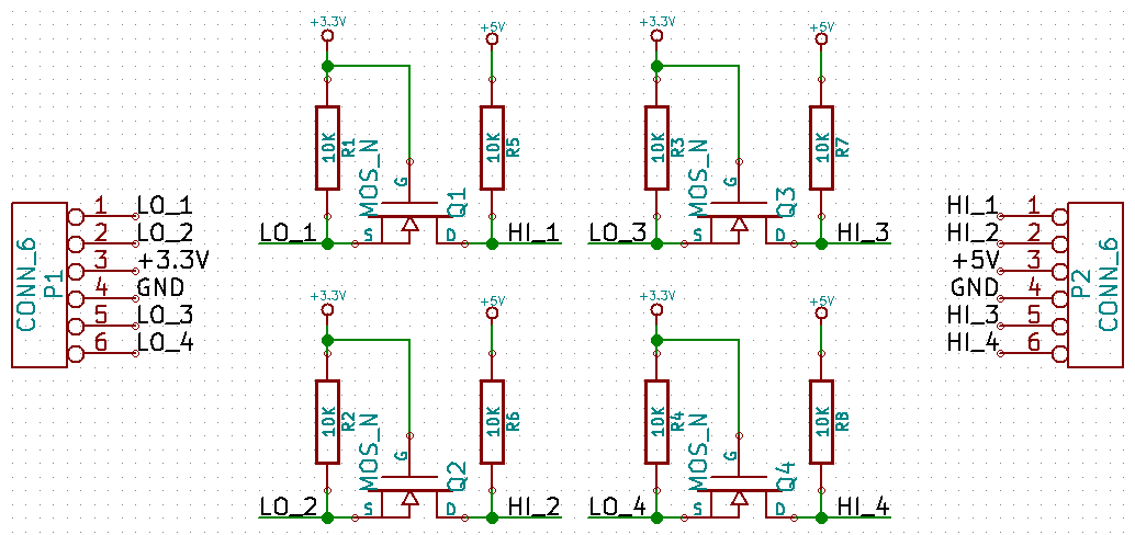 4-channel level shifter schematic